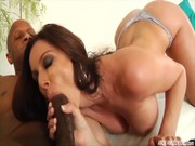 Hot busty brunette Kendra Lust sucking big black cock