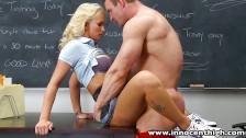 Blonde schoolgirl Emily Austin fucks horny coach